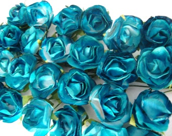 Turquoise and White Mulberry Paper Roses Flowers - 4 Bunches