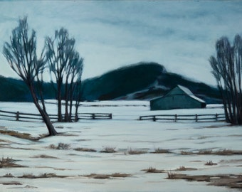 oil painting farm barn winter snow