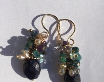Sapphire Jewelry, Sapphire Cluster Earrings, Gold Earrings, Gold Jewelry,