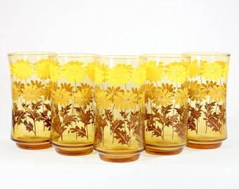 Libbey Ombre Daisy Tumblers - Set of 5 - Vintage 1970s VTG