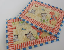 Beach Cats Mug Rugs-Set of 2- Free Shipping to US and Canada