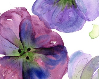 Modern Botanical Art Print,  Three Pansies, Large Archival Botanical Art