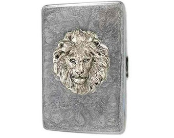 Metal Cigarette Case Silver Lion Inlaid in Hand Painted Glossy Metallic Silver Swirl Enamel Leo Metal Wallet Neo Victorian