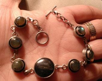 sterling silver bracelet with labradorite stones