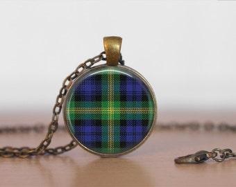 GORDON TARTAN Pendant Necklace / Scottish Tartan Jewelry / Ancestral Jewellery / Gordon Clan /  Family Jewelry / Personalized Gift / boxed