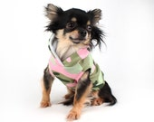 SALE XS Dog Hoodie Pink and green army Camo print sleeveless dog sweater