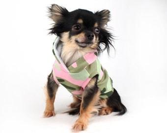 SALE XS Dog Hoodie Pink and green army Camo print sleeveless dog sweater