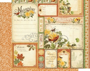 """BOTH November Pages - Graphic 45 """"Time to Flourish""""  ** See Discounted Shipping Note**"""