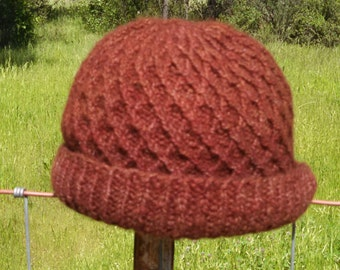 diamond cable wool hat in brick red color handknit with hand spun wool