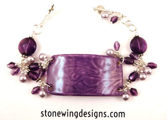 Amethyst, Ceramic and Pearl Cuff Bracelet