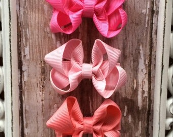 """Baby Girl 2"""" Boutique Hair Bow Set of 3 - Pretty in Pink, Newborn Gifts,  Babies, Little Girls"""