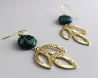 Gold plated triple leaf earrings with green dyed jasper gemstone, gold chandelier earrings