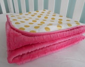Gold Glitz Collection - Pearlized Chevron or Dots  Deluxe Crib/Toddler Blanket