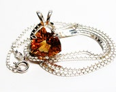 "Citrine, citrine necklace, citrine pendant, golden orange, mothers day,  ""Candle light night"""
