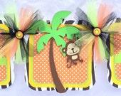 Jungle / safari baby shower banner, photo prop, welcome baby, orange, green, yellow, zebra print, polka dots, gender reveal,