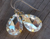 Titanium Earrings, Clear Glass Teardrops, Set in Brass with Hypoallergenic Titanium Ear Wires, April Birthstone