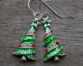 Titanium Christmas Tree Earrings, Green and Red Enameled Christmas Tree Charms on Hypoallergenic Titanium Ear Wires