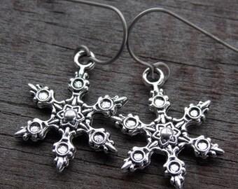 Titanium SnowflakeEarrings, Antiqued Silver Snowflake Charms on Hypoallergenic Titanium Ear Wires