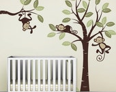 Wall Decal, Three Monkeys and tree - Nursery Wall Décor