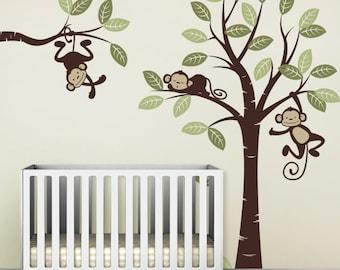 Wall Decal, Three Monkeys and tree - Nursery Wall Décor