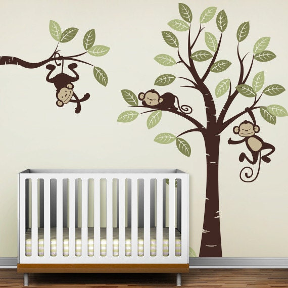 Wall Decals, Three Monkeys and tree - Nursery Wall Décor