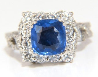 3.88ct GIA Natural No Heat Blue Sapphire Diamond Ring14KT Unheated