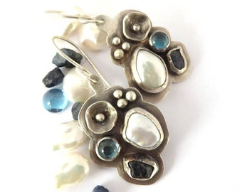Silver earrrings with rough blue sapphires blue topaz and freshwater pearls