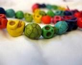 Rainbow Howlite Skull Bracelets