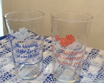 Vintage Pair Federal PSALMS Drinking / Beverage Glasses / Blue / Pink / Like New / Federal Glass Co.