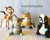 Vintage McDonalds' Happy Meal Toys, Disney Characters, Bambi, Thumper, Owl and Flower, 1988 toys, CLEAN,  Bambi Toys