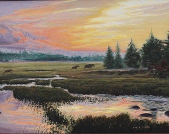 Family Outing-Moose (original oil painting)