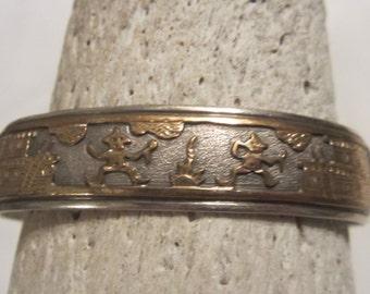 Vintage Signed Navajo Story Teller 12k Gold Filled Sterling Silver Cuff Bracelet Sterling Silver Jewelry