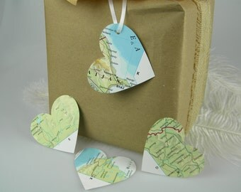 """World Maps Recycled Gift Tags Destination Travel Theme Large Heart Gift Tags / Hole Punched / Hang tags  2-3/4"""" / Wedding Favor Tags"""