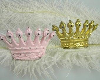 Crown Tiara Princess Pink or Gold   Drawer Pull   Nursery Decoration   Princess or Little prince Theme   Furniture Hardware Knob Handle