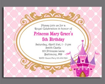 Princess Invitation Printable or Printed with FREE SHIPPING - Royal Collection