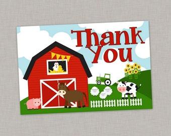 Farm Thank You Card, Barnyard Thank You Card, Farm Birthday, Farm Party, Printable Thank You Card