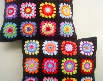 set of 2 crochet hippie happy granny square cushion covers in black edging / pillow covers