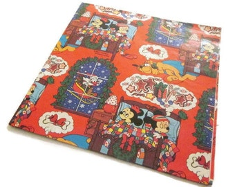 Vintage Wrapping Paper - Disney Night Before Christmas - Full Sheet Gift Wrap - Walt Disney Productions