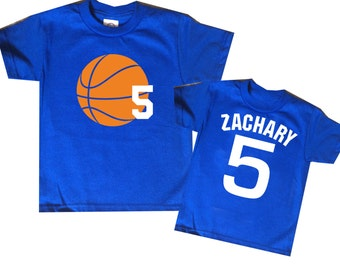 Basketball Birthday Shirt - personalized two sided basketball jersey shirt for kids -any age and name - pick your colors!