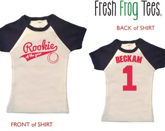 Rookie of the Year First Birthday Personalized  Shirt - short sleeve raglan birthday shirt - any age and name you pick the colors!