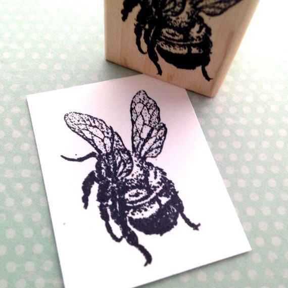Bee  Wood Mounted Rubber Stamp 3900