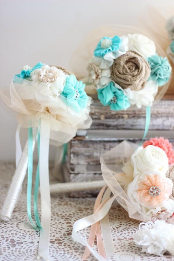 Christmas SALE Coral Aqua Blue Wedding Bouquet Set Fabric Flowers Bridal Bridesmaids Bouquets Turquoise Rustic