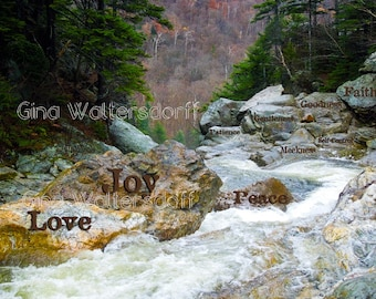 Inspirational ROCK Photography, Rapids, Landscape, Typography Words Stone Wall Art, Galatians 5-22, Love, Joy, Peace,Gina Waltersdorff