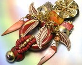 Handmade Upcycled African Tribal Jewelry, recycled tribal brooch, collage African brooch, ooak, one of a kind, eco friendly tribal brooch
