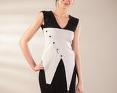 Black and light grey vest, knit jersey vest, asymmetric vest, lace jersey vest, original design vest, pullover vest