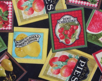 Seed Packets Fabric,  Fruit Seed Packets Fabric, Fruit Labels, Vintage Kitchen, Apples, Pears, Cherries, Lemons,  Watermelon, By the Yard