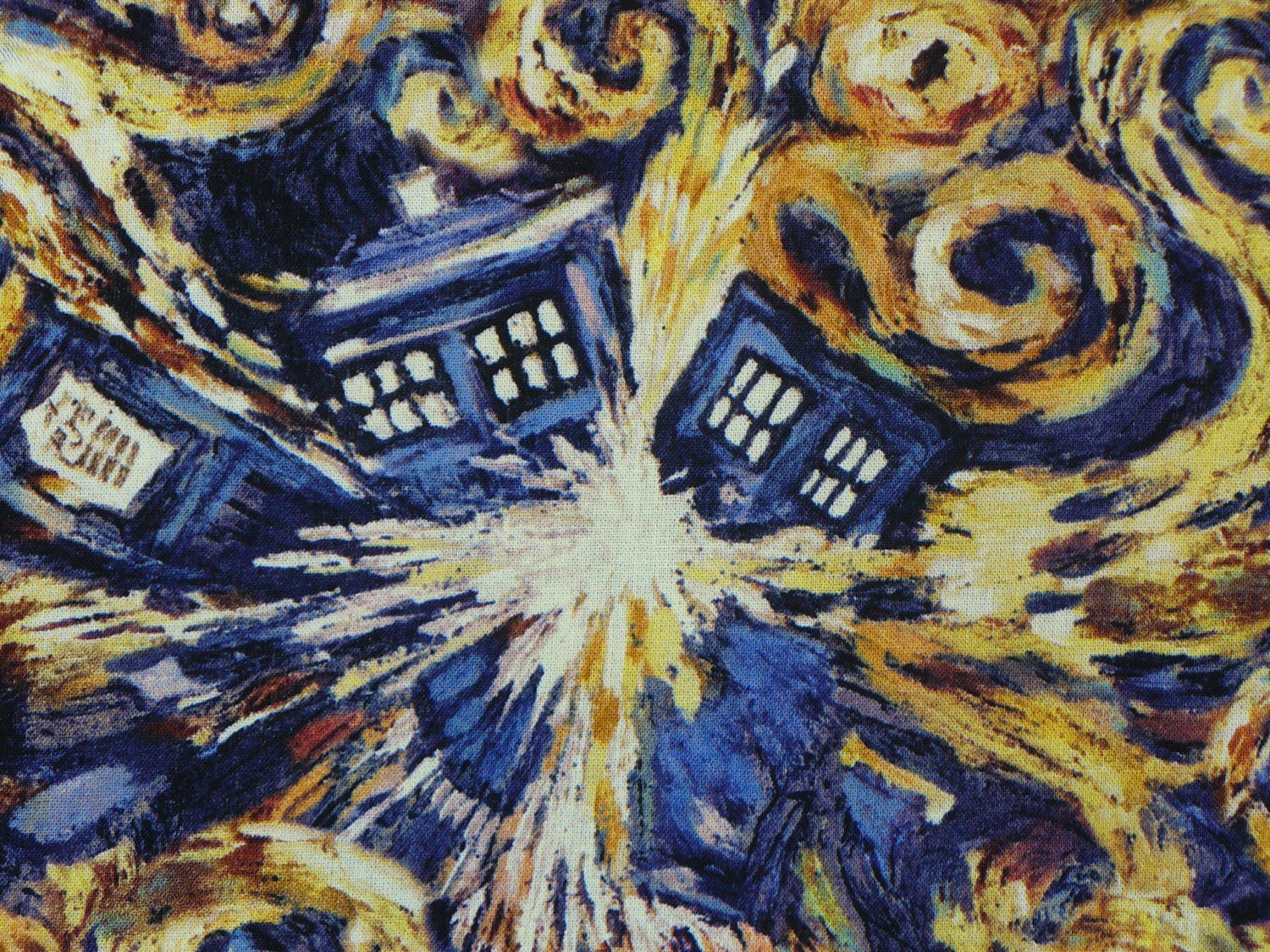 doctor who fabric doctor who exploding tardis van gogh