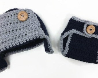 Crochet Bomber Hat & Diaper Cover