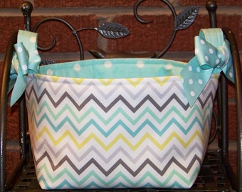 Fabric Easter Basket - Aqua, Gray, Yellow Chevron on White - Personalization Included - Great Storage Bin