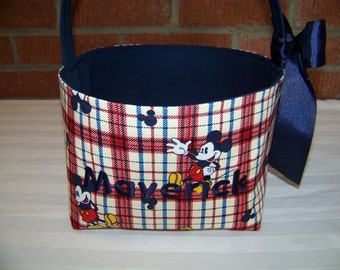 Fabric Easter Basket – Mickey Mouse in Navy Blue and Red Plaid - Personalization Included - Great Storage Bin
